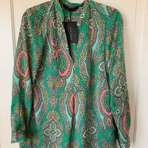 Zara Woman spring print shirt dress M NWT